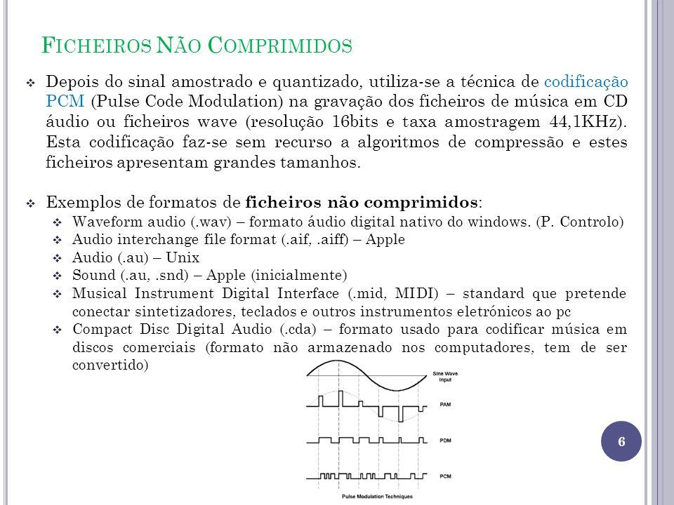 F ICHEIROS N ÃO C OMPRIMIDOS Depois do sinal amostrado e quantizado, utiliza-se a técnica de codificação PCM (Pulse Code Modulation) na gravação dos f