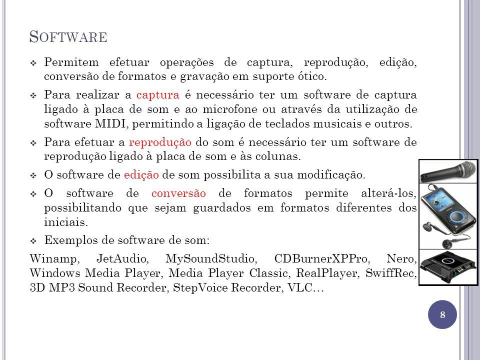S OFTWARE Permitem efetuar operações de captura, reprodução, edição, conversão de formatos e gravação em suporte ótico. Para realizar a captura é nece