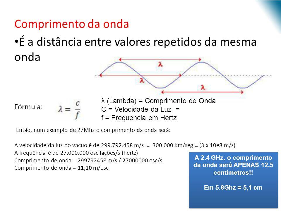 Comprimento da onda É a distância entre valores repetidos da mesma onda Fórmula: Então, num exemplo de 27Mhz o comprimento da onda será: A velocidade da luz no vácuo é de 299.792.458 m/s 300.000 Km/seg (3 x 10e8 m/s) A frequência é de 27.000.000 oscilações/s (hertz) Comprimento de onda = 299792458 m/s / 27000000 osc/s Comprimento de onda = 11,10 m/osc URI - DECC - Santo Ângelo λ (Lambda) = Comprimento de Onda C = Velocidade da Luz = f = Frequencia em Hertz A 2.4 GHz, o comprimento da onda será APENAS 12,5 centímetros!.