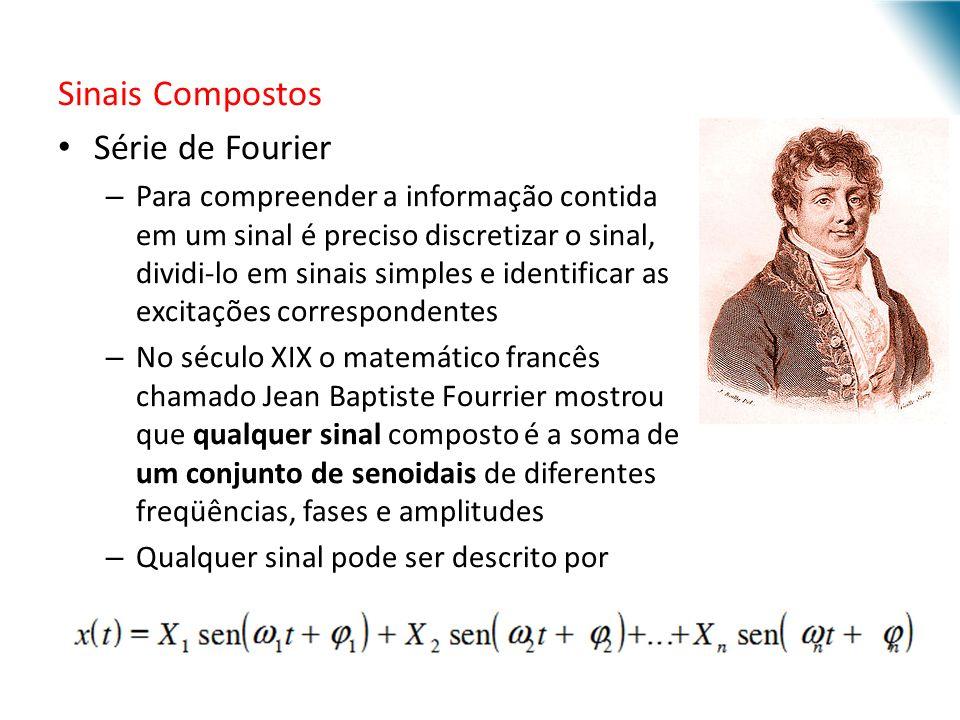 Sinais Compostos Série de Fourier – Para compreender a informação contida em um sinal é preciso discretizar o sinal, dividi-lo em sinais simples e ide