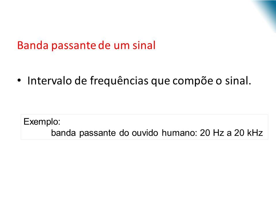 Banda passante de um sinal Intervalo de frequências que compõe o sinal. Exemplo: banda passante do ouvido humano: 20 Hz a 20 kHz