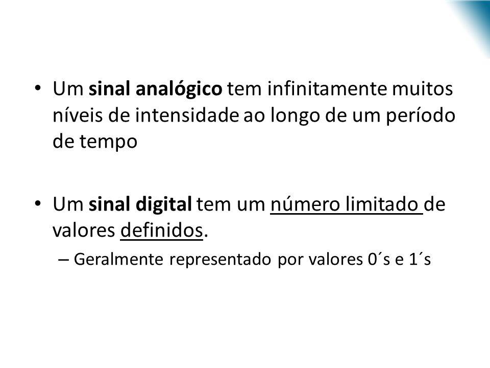 Um sinal analógico tem infinitamente muitos níveis de intensidade ao longo de um período de tempo Um sinal digital tem um número limitado de valores d