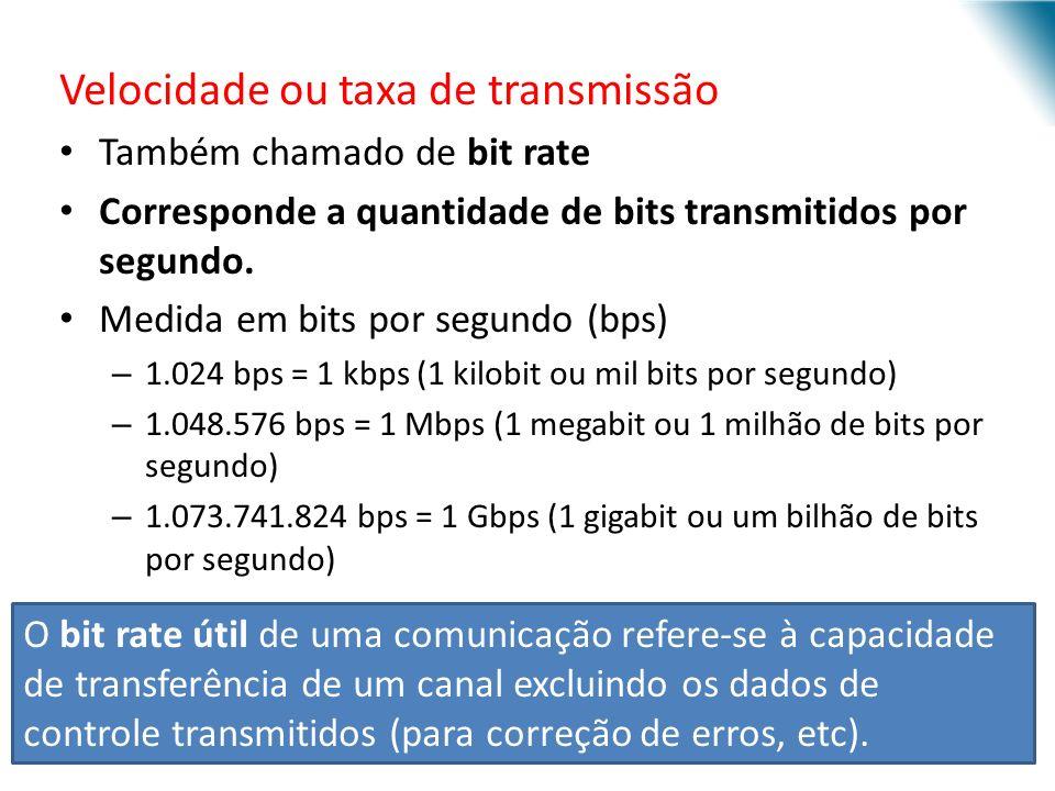 Velocidade ou taxa de transmissão Também chamado de bit rate Corresponde a quantidade de bits transmitidos por segundo. Medida em bits por segundo (bp