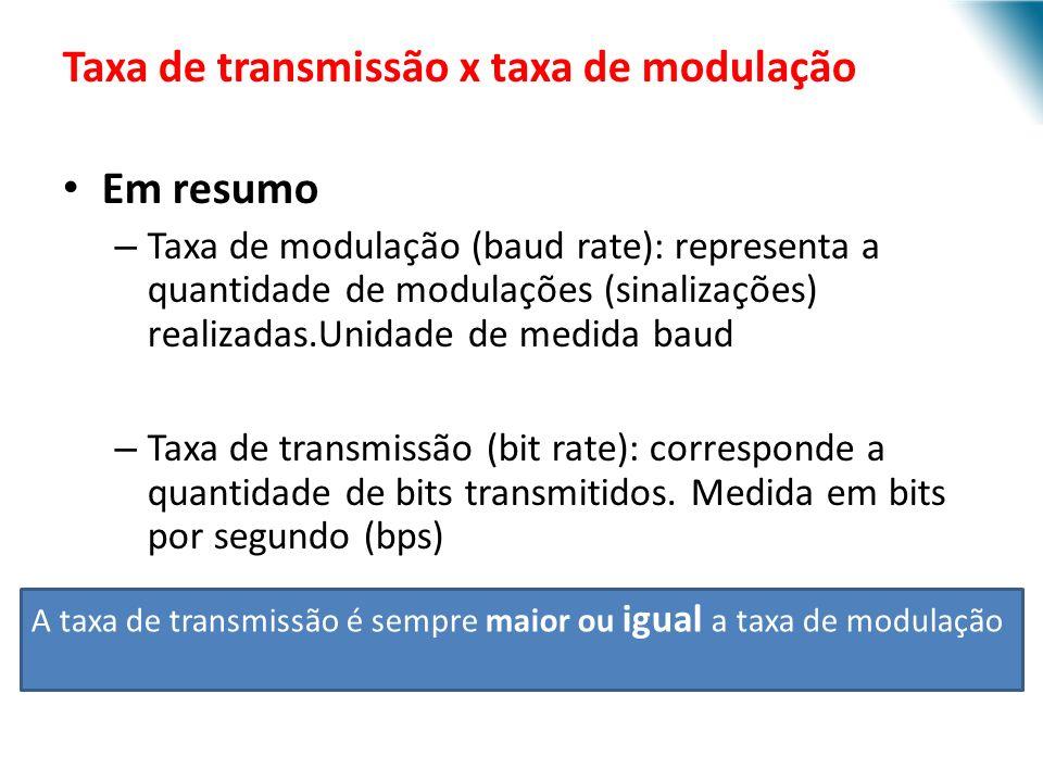 URI - DECC - Santo Ângelo Taxa de transmissão x taxa de modulação Em resumo – Taxa de modulação (baud rate): representa a quantidade de modulações (sinalizações) realizadas.Unidade de medida baud – Taxa de transmissão (bit rate): corresponde a quantidade de bits transmitidos.
