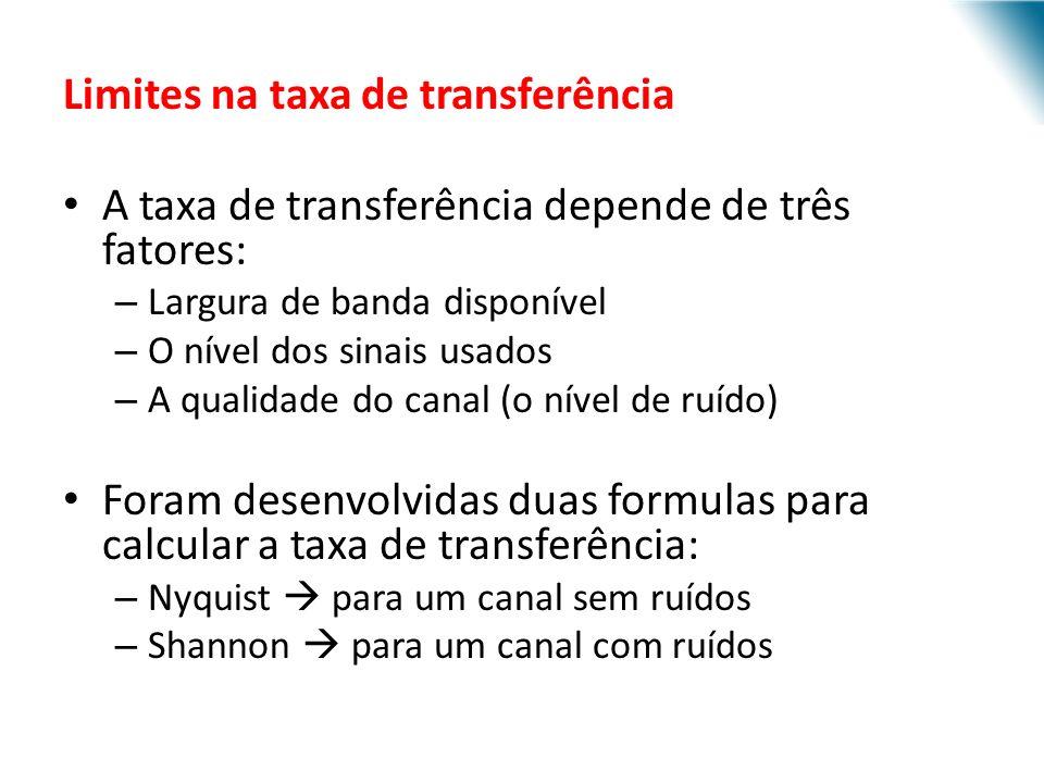 URI - DECC - Santo Ângelo Limites na taxa de transferência A taxa de transferência depende de três fatores: – Largura de banda disponível – O nível do