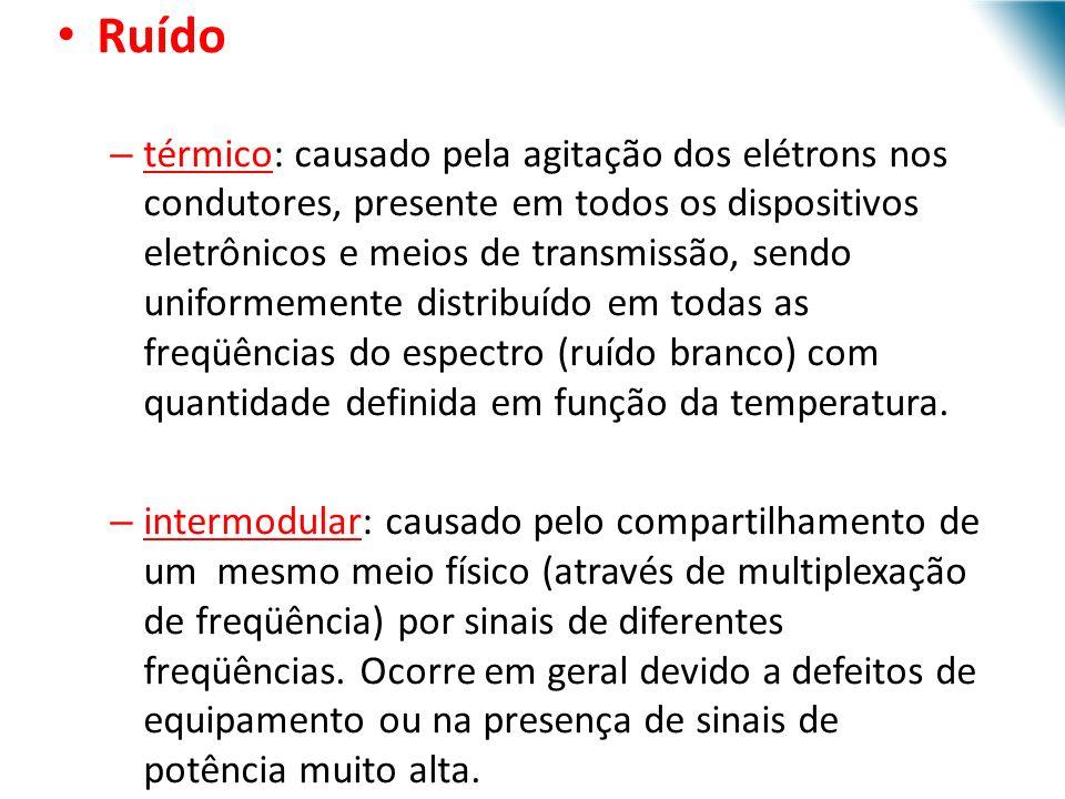 URI - DECC - Santo Ângelo Ruído – térmico: causado pela agitação dos elétrons nos condutores, presente em todos os dispositivos eletrônicos e meios de transmissão, sendo uniformemente distribuído em todas as freqüências do espectro (ruído branco) com quantidade definida em função da temperatura.