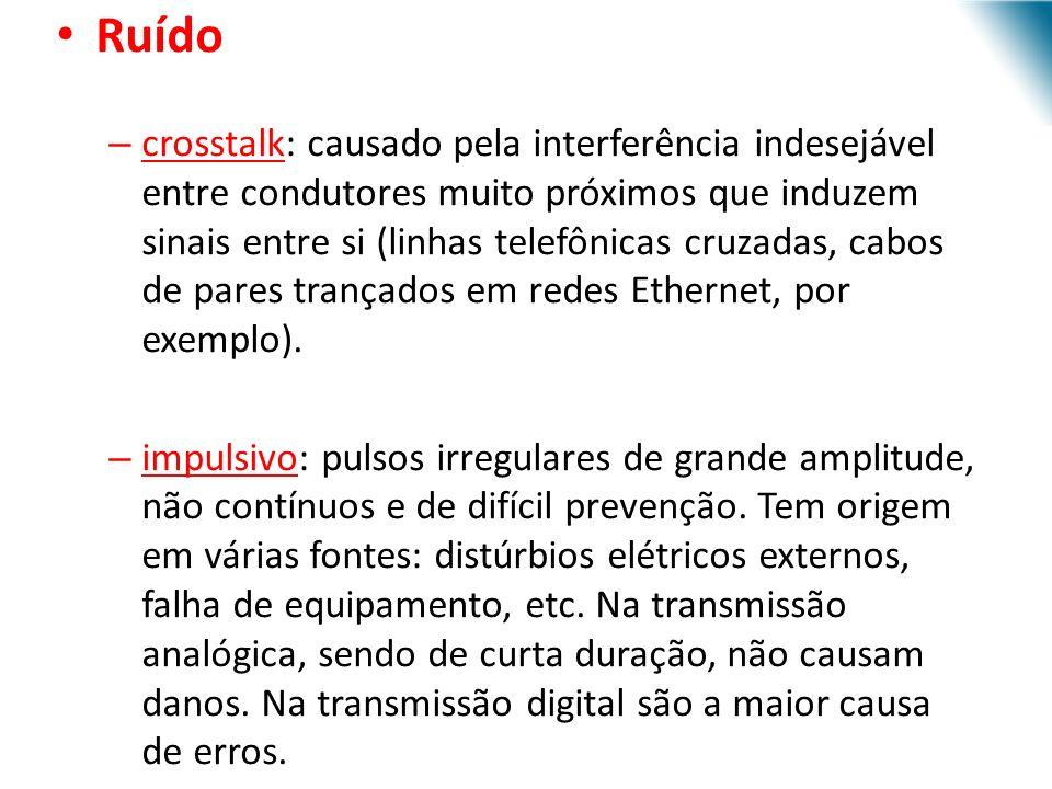 URI - DECC - Santo Ângelo Ruído – crosstalk: causado pela interferência indesejável entre condutores muito próximos que induzem sinais entre si (linhas telefônicas cruzadas, cabos de pares trançados em redes Ethernet, por exemplo).