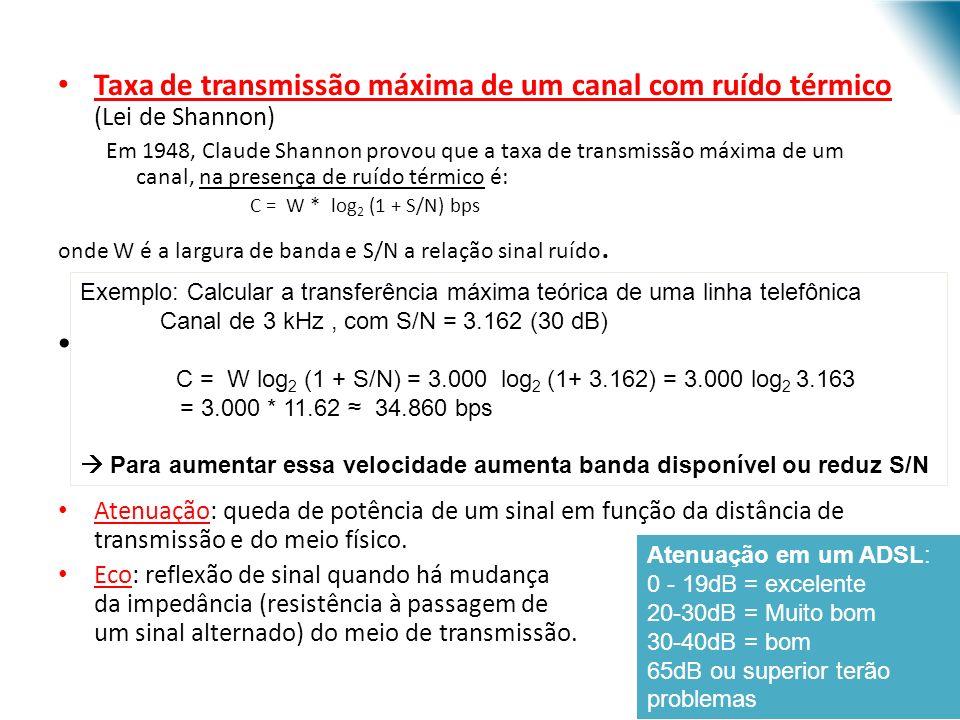 URI - DECC - Santo Ângelo Taxa de transmissão máxima de um canal com ruído térmico (Lei de Shannon) Em 1948, Claude Shannon provou que a taxa de transmissão máxima de um canal, na presença de ruído térmico é: C = W * log 2 (1 + S/N) bps onde W é a largura de banda e S/N a relação sinal ruído.