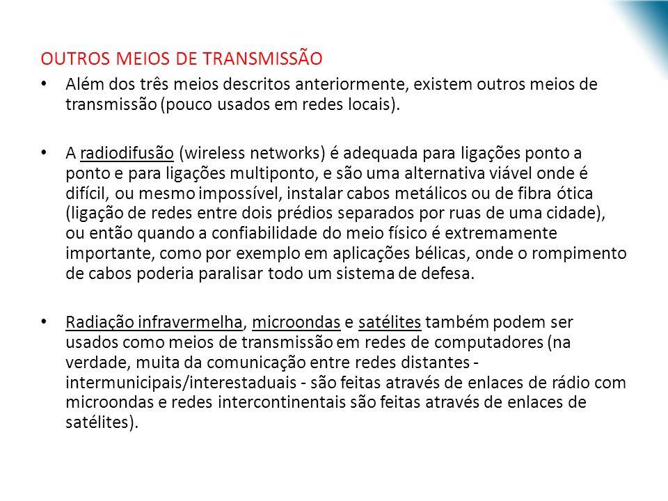 URI - DECC - Santo Ângelo OUTROS MEIOS DE TRANSMISSÃO Além dos três meios descritos anteriormente, existem outros meios de transmissão (pouco usados em redes locais).