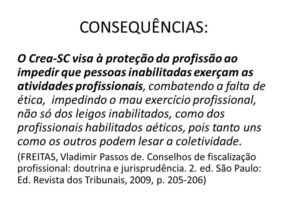 CONSEQUÊNCIAS: O Crea-SC visa à proteção da profissão ao impedir que pessoas inabilitadas exerçam as atividades profissionais, combatendo a falta de é
