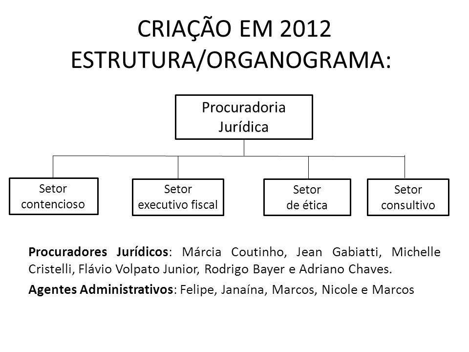 CRIAÇÃO EM 2012 ESTRUTURA/ORGANOGRAMA: Procuradores Jurídicos: Márcia Coutinho, Jean Gabiatti, Michelle Cristelli, Flávio Volpato Junior, Rodrigo Baye