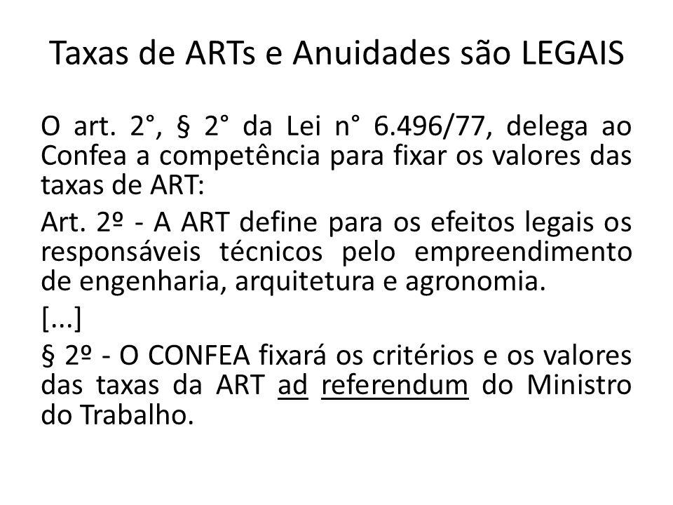 Taxas de ARTs e Anuidades são LEGAIS O art. 2°, § 2° da Lei n° 6.496/77, delega ao Confea a competência para fixar os valores das taxas de ART: Art. 2