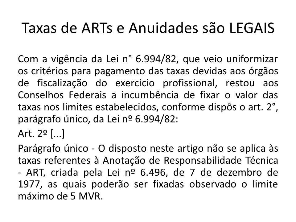 Taxas de ARTs e Anuidades são LEGAIS Com a vigência da Lei n° 6.994/82, que veio uniformizar os critérios para pagamento das taxas devidas aos órgãos