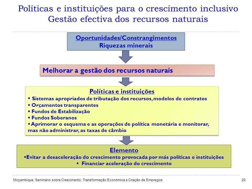 Políticas e instituições para o crescimento inclusivo Gestão efectiva dos recursos naturais 20 Oportunidades/Constrangimentos Riquezas minerais Melhor