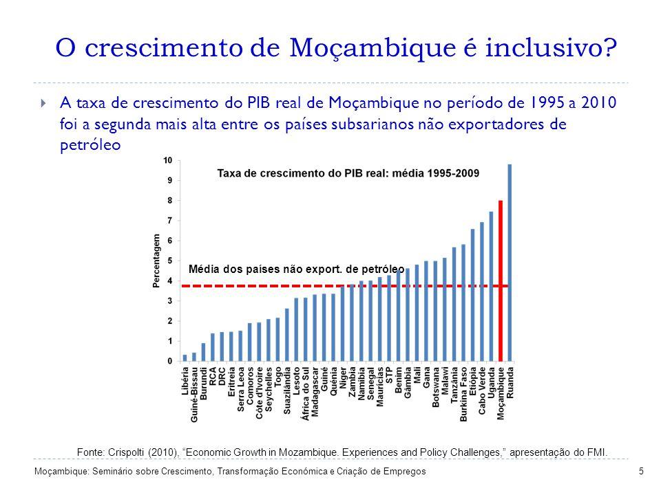 O crescimento de Moçambique é inclusivo? 5 A taxa de crescimento do PIB real de Moçambique no período de 1995 a 2010 foi a segunda mais alta entre os