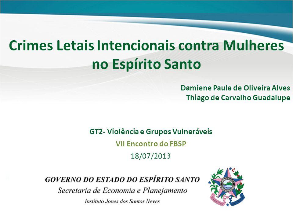 Crimes Letais Intencionais contra Mulheres no Espírito Santo Damiene Paula de Oliveira Alves Thiago de Carvalho Guadalupe GT2- Violência e Grupos Vuln