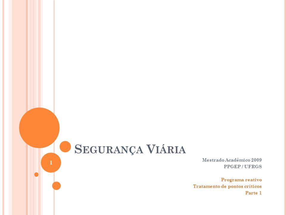 S EGURANÇA V IÁRIA Mestrado Acadêmico 2009 PPGEP / UFRGS Programa reativo Tratamento de pontos críticos Parte 1 1