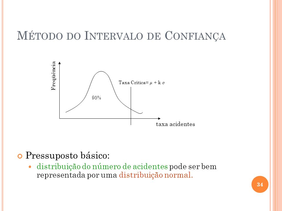 M ÉTODO DO I NTERVALO DE C ONFIANÇA Pressuposto básico: distribuição do número de acidentes pode ser bem representada por uma distribuição normal. Tax