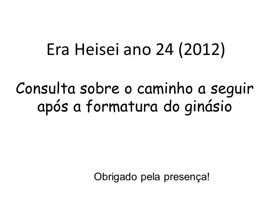 Era Heisei ano 24 (2012) Consulta sobre o caminho a seguir após a formatura do ginásio Obrigado pela presença!