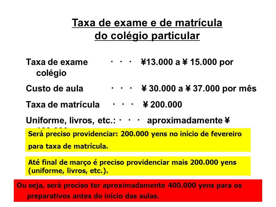 Taxa de exame e de matrícula do colégio particular Taxa de exame ¥13.000 a ¥ 15.000 por colégio Custo de aula ¥ 30.000 a ¥ 37.000 por mês Taxa de matr
