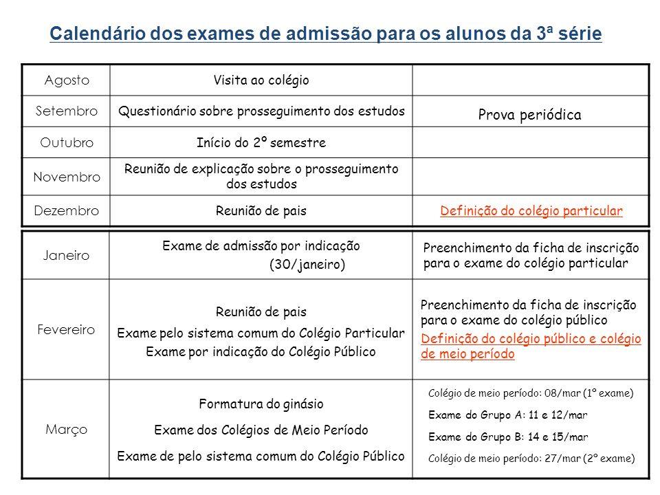 Calendário dos exames de admissão para os alunos da 3ª série Agosto Visita ao colégio Setembro Questionário sobre prosseguimento dos estudos Prova per