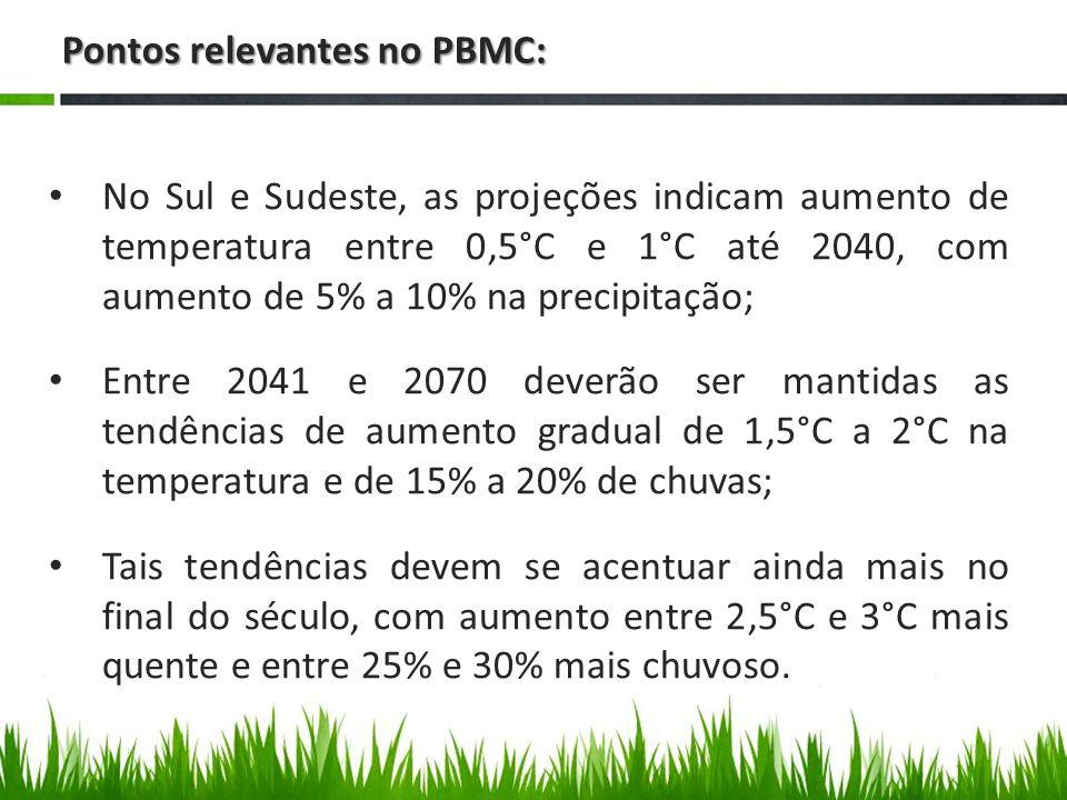 Pontos relevantes no PBMC: No Sul e Sudeste, as projeções indicam aumento de temperatura entre 0,5°C e 1°C até 2040, com aumento de 5% a 10% na precipitação; Entre 2041 e 2070 deverão ser mantidas as tendências de aumento gradual de 1,5°C a 2°C na temperatura e de 15% a 20% de chuvas; Tais tendências devem se acentuar ainda mais no final do século, com aumento entre 2,5°C e 3°C mais quente e entre 25% e 30% mais chuvoso.
