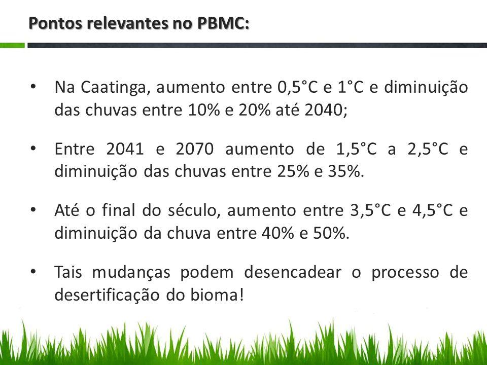 Pontos relevantes no PBMC: No Cerrado, a temperatura deverá aumentar entre 5°C e 5,5°C e as chuvas diminuirão entre 35% e 45% no bioma até 2100; No Pantanal, aumento da temperatura deverá ser de 3,5°C a 4,5°C até o final do século, com diminuição acentuada dos padrões de chuva no bioma – queda de 35% a 45%; Diminuição significativa na produtividade agrícola!