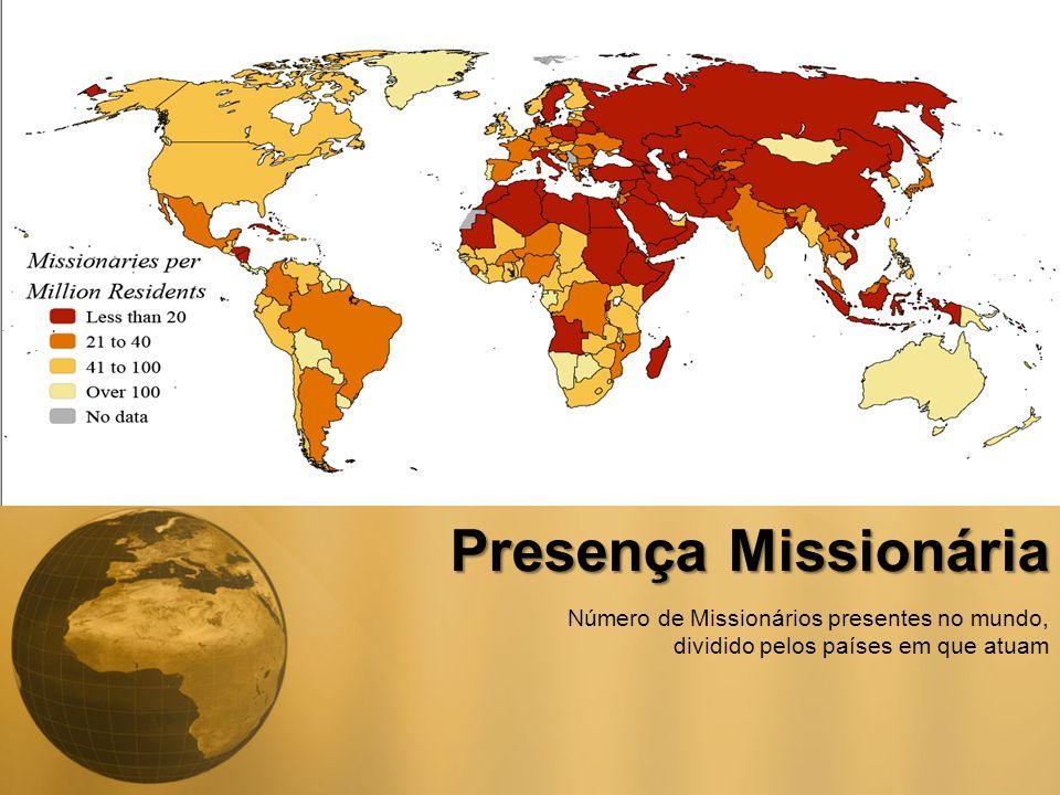Presença Missionária Número de Missionários presentes no mundo, dividido pelos países em que atuam