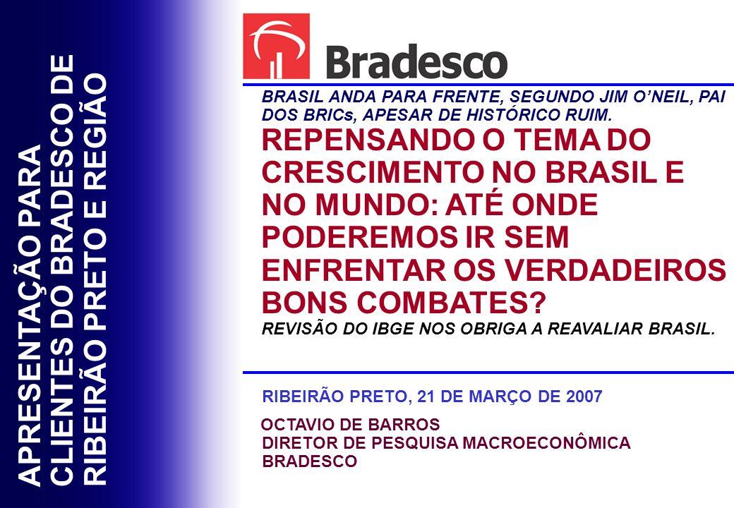 APRESENTAÇÃO PARA CLIENTES DO BRADESCO DE RIBEIRÃO PRETO E REGIÃO BRASIL ANDA PARA FRENTE, SEGUNDO JIM ONEIL, PAI DOS BRICs, APESAR DE HISTÓRICO RUIM.