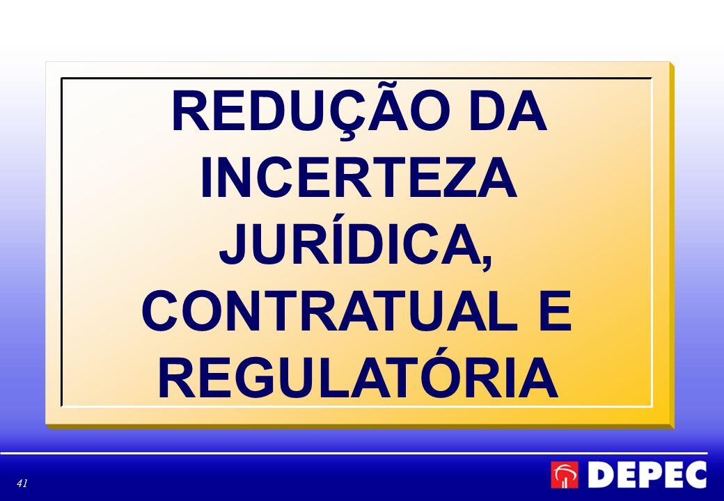 41 REDUÇÃO DA INCERTEZA JURÍDICA, CONTRATUAL E REGULATÓRIA