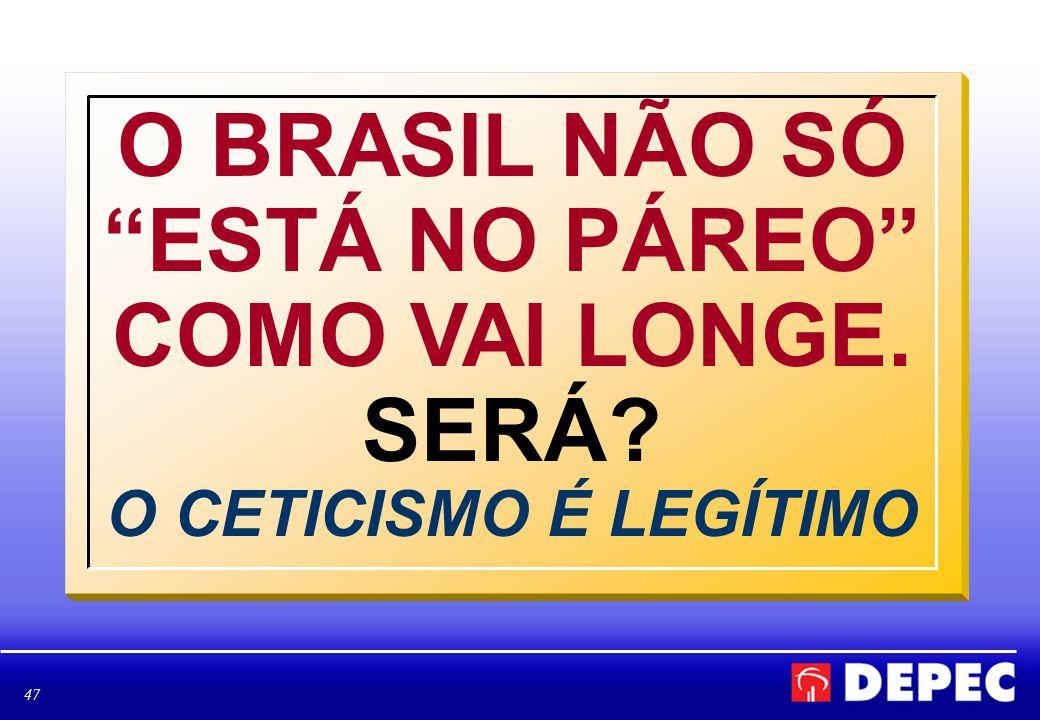 47 O BRASIL NÃO SÓ ESTÁ NO PÁREO COMO VAI LONGE. SERÁ? O CETICISMO É LEGÍTIMO