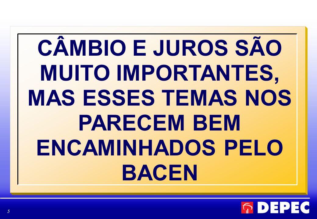 5 CÂMBIO E JUROS SÃO MUITO IMPORTANTES, MAS ESSES TEMAS NOS PARECEM BEM ENCAMINHADOS PELO BACEN