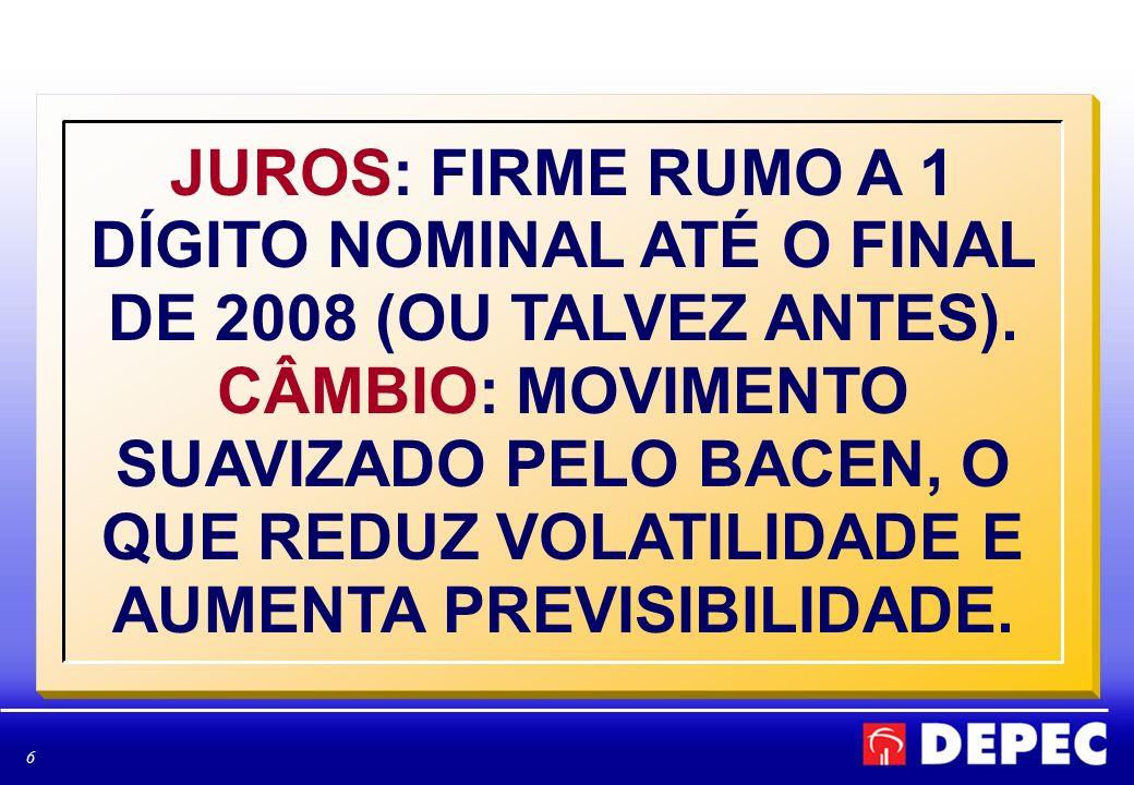 6 JUROS: FIRME RUMO A 1 DÍGITO NOMINAL ATÉ O FINAL DE 2008 (OU TALVEZ ANTES).