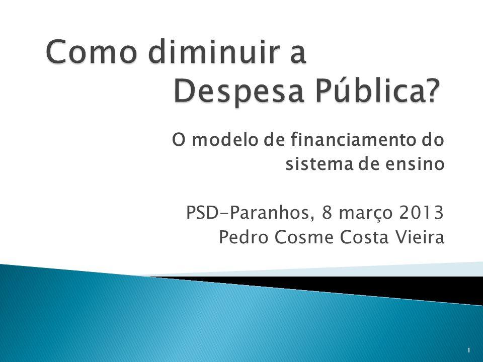O modelo de financiamento do sistema de ensino PSD-Paranhos, 8 março 2013 Pedro Cosme Costa Vieira 1