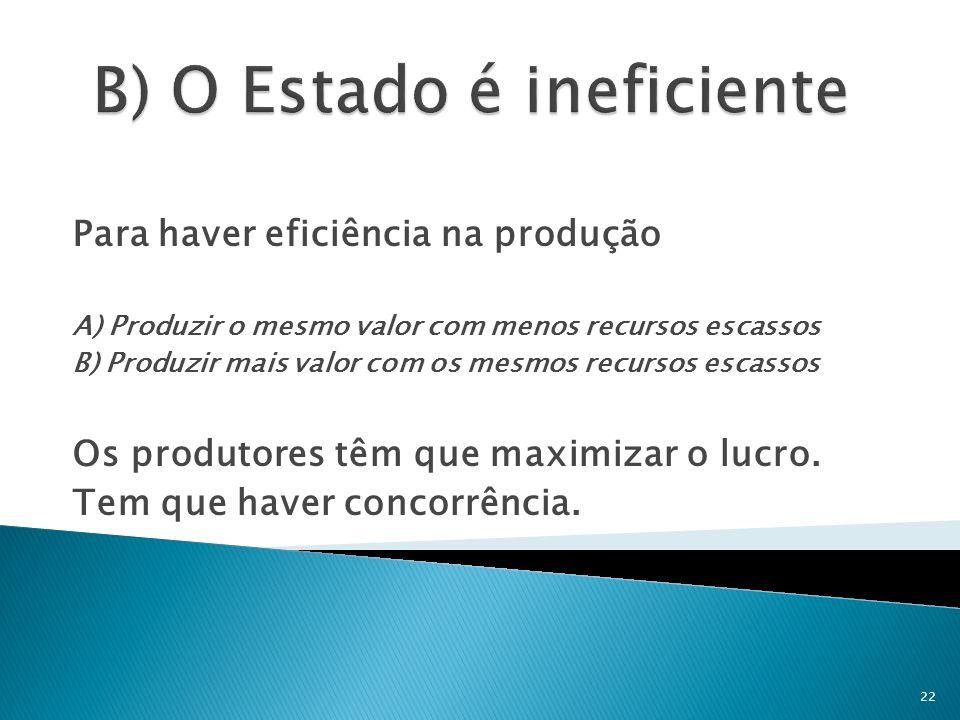Para haver eficiência na produção A) Produzir o mesmo valor com menos recursos escassos B) Produzir mais valor com os mesmos recursos escassos Os prod