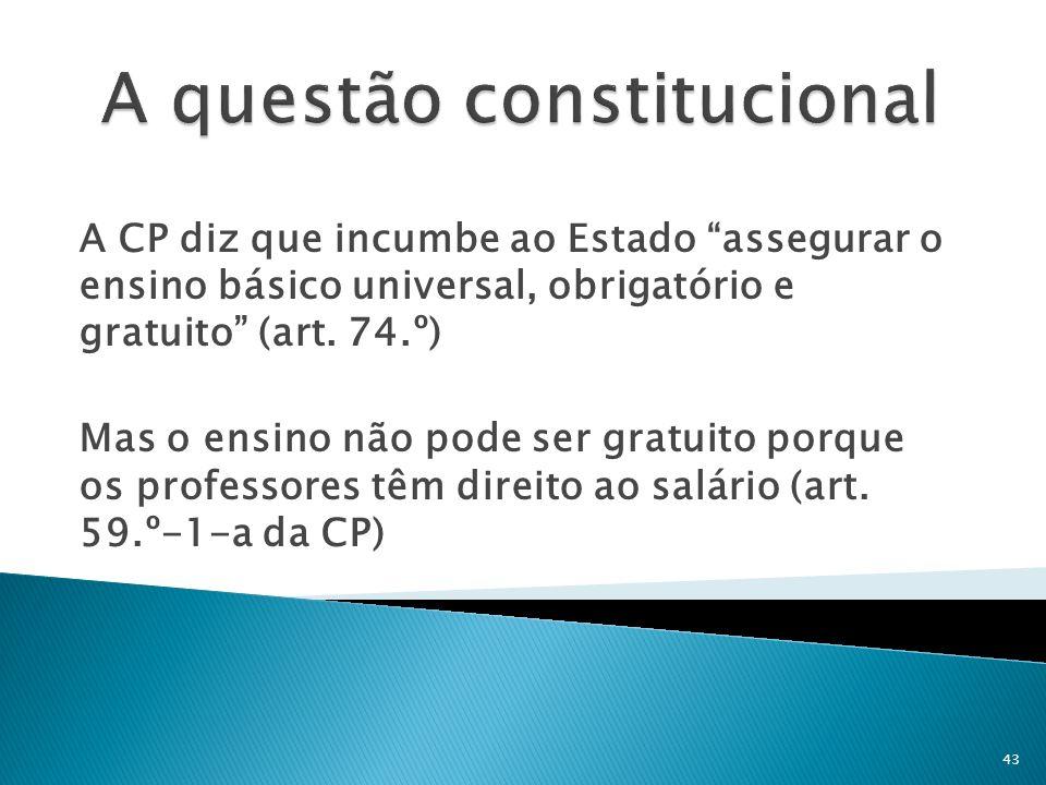 A CP diz que incumbe ao Estado assegurar o ensino básico universal, obrigatório e gratuito (art. 74.º) Mas o ensino não pode ser gratuito porque os pr