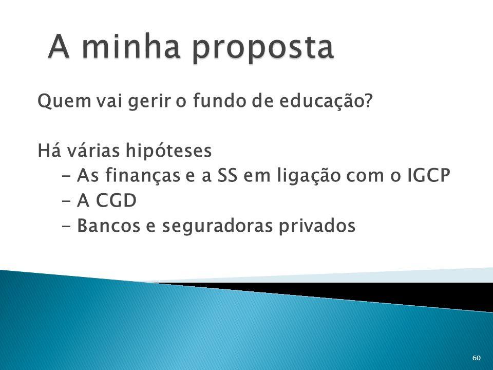 Quem vai gerir o fundo de educação? Há várias hipóteses - As finanças e a SS em ligação com o IGCP - A CGD - Bancos e seguradoras privados 60