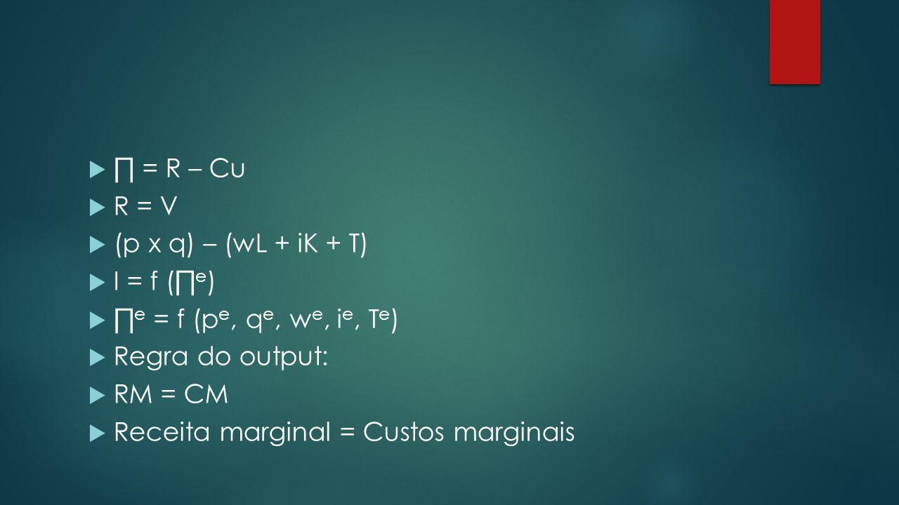 = R – Cu R = V (p x q) – (wL + iK + T) I = f ( e ) e = f (p e, q e, w e, i e, T e ) Regra do output: RM = CM Receita marginal = Custos marginais