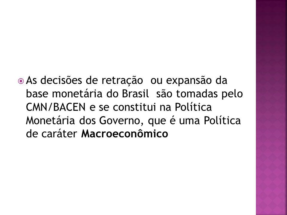 As decisões de retração ou expansão da base monetária do Brasil são tomadas pelo CMN/BACEN e se constitui na Política Monetária dos Governo, que é uma