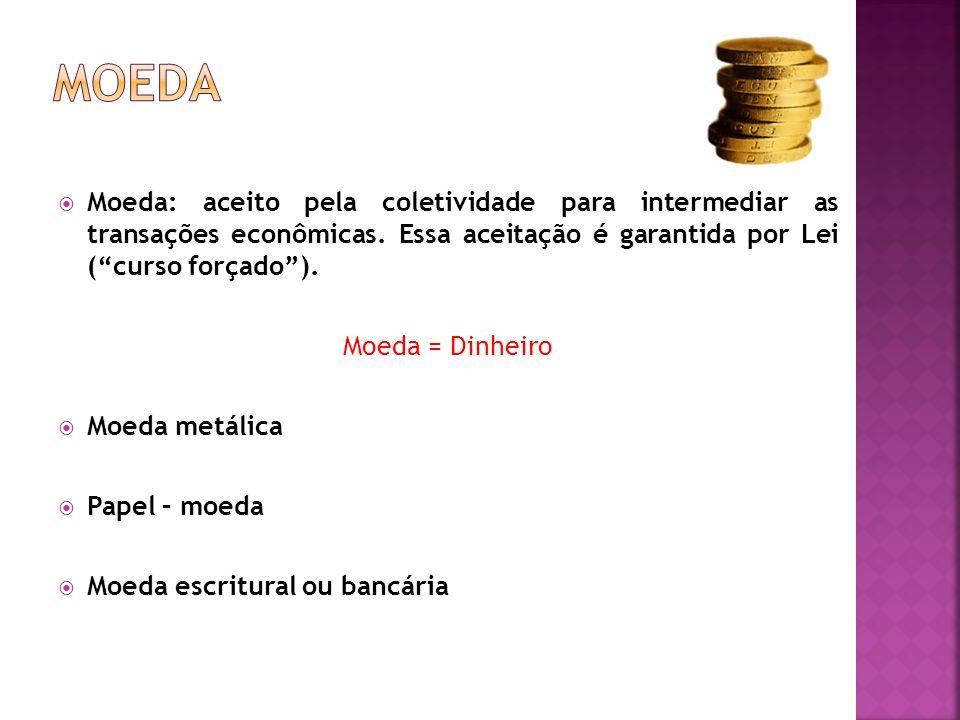 Moeda: aceito pela coletividade para intermediar as transações econômicas. Essa aceitação é garantida por Lei (curso forçado). Moeda = Dinheiro Moeda