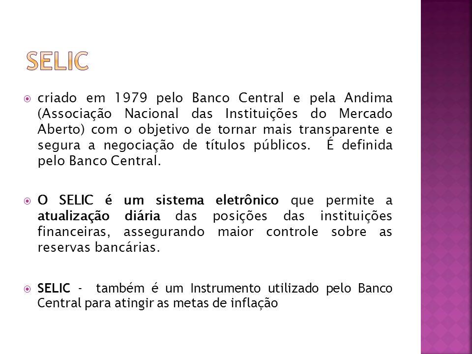 criado em 1979 pelo Banco Central e pela Andima (Associação Nacional das Instituições do Mercado Aberto) com o objetivo de tornar mais transparente e