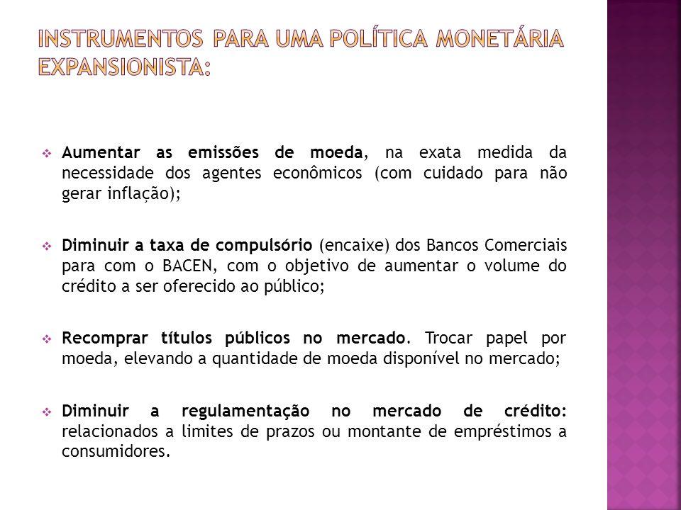 Aumentar as emissões de moeda, na exata medida da necessidade dos agentes econômicos (com cuidado para não gerar inflação); Diminuir a taxa de compuls