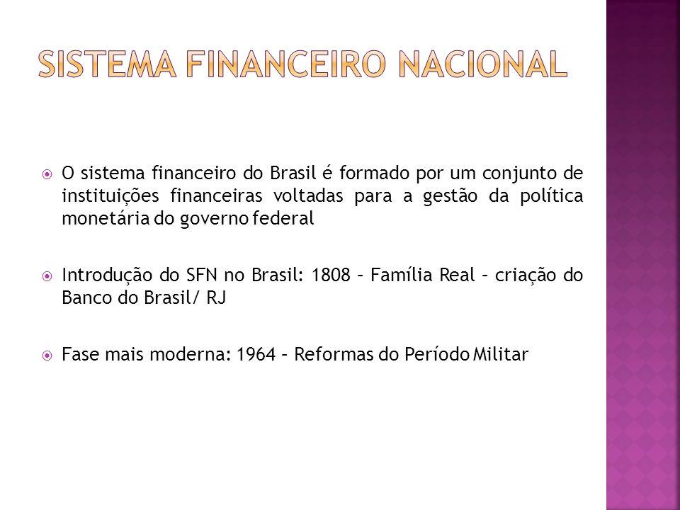 O sistema financeiro do Brasil é formado por um conjunto de instituições financeiras voltadas para a gestão da política monetária do governo federal I