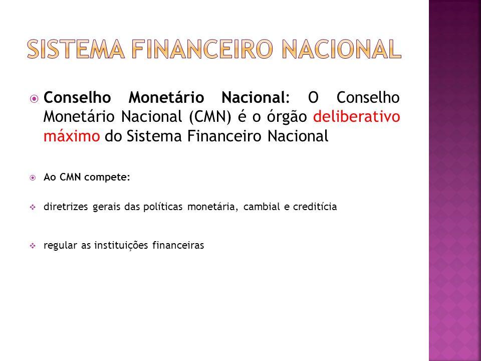 Conselho Monetário Nacional: O Conselho Monetário Nacional (CMN) é o órgão deliberativo máximo do Sistema Financeiro Nacional Ao CMN compete: diretriz