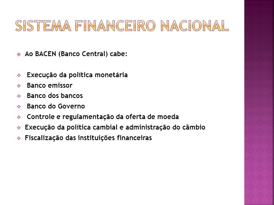 Ao BACEN (Banco Central) cabe: Execução da política monetária Banco emissor Banco dos bancos Banco do Governo Controle e regulamentação da oferta de m