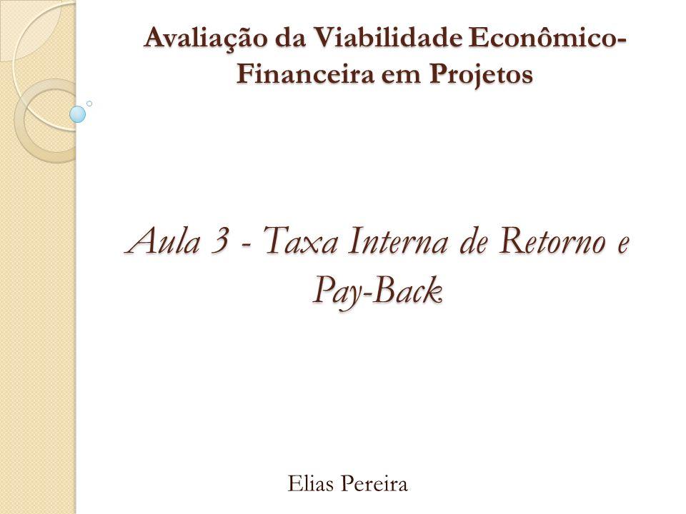 Avaliação da Viabilidade Econômico- Financeira em Projetos Elias Pereira Aula 3 - Taxa Interna de Retorno e Pay-Back
