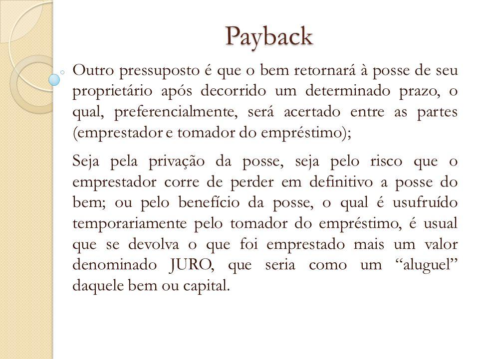 Payback Outro pressuposto é que o bem retornará à posse de seu proprietário após decorrido um determinado prazo, o qual, preferencialmente, será acert