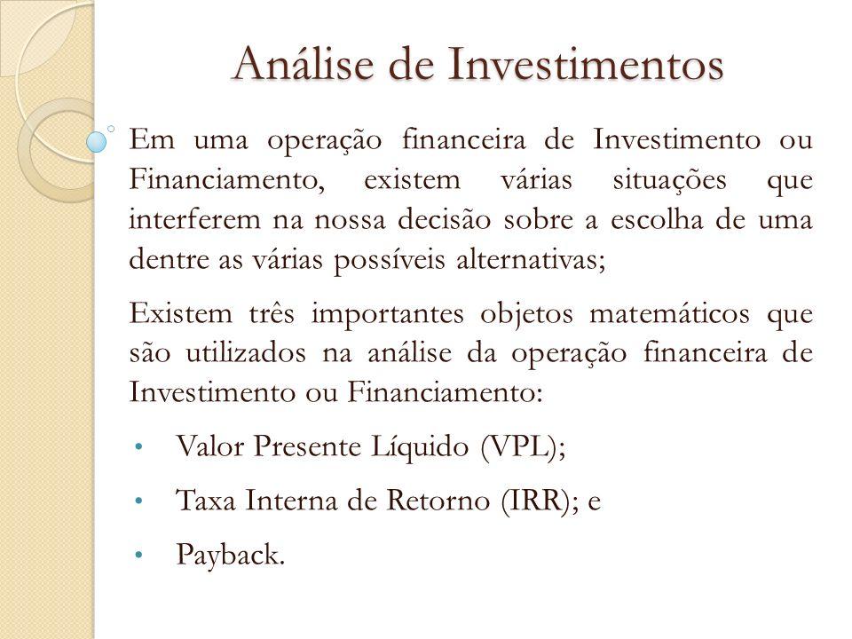 Taxa Interna de Retorno (IRR) EXEMPLO Um investimento de R$ 1.200,00 gera as seguintes entradas de caixa: R$ 630,00 após 1 mês; R$ 270,00 após 2 meses; R$ 510,00 após 3 meses; Considerando uma taxa de 5% a.m., determine a TIR.