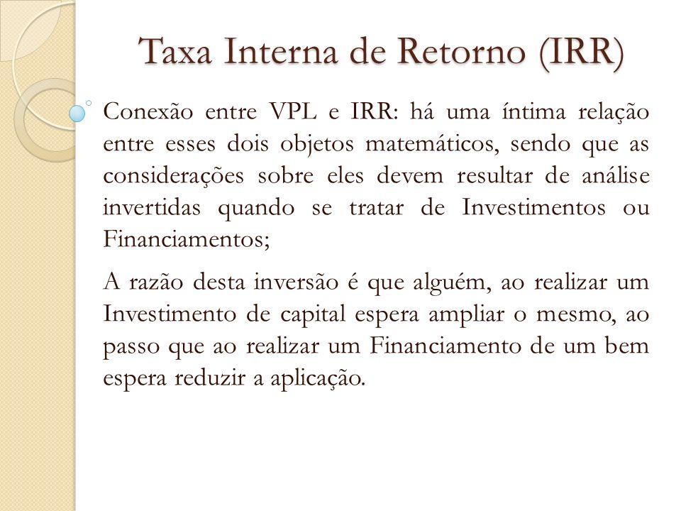 Taxa Interna de Retorno (IRR) Em um INVESTIMENTO: Se o VPL for positivo, a Taxa Real (IRR) é maior do que a Taxa de Mercado; Se o VPL for negativo, a Taxa Real (IRR) é menor do que a Taxa de Mercado; e Se o VPL=0 então a Taxa de Mercado coincide com a Taxa Real (IRR).