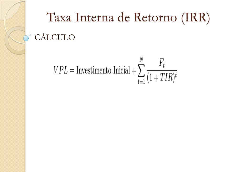 Taxa Interna de Retorno (IRR) EXEMPLO: Um investimento de R$ 600,00 que gerou uma entrada de R$ 630,00 após um mês.